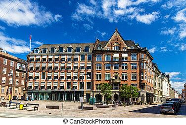 Buildings on the City Hall Square of Copenhagen, Denmark