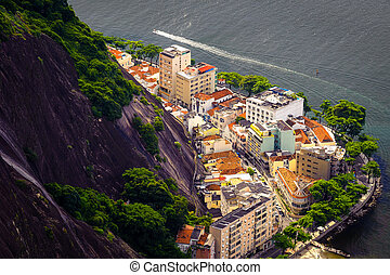 Buildings on the coast - Aerial view of buildings on the...