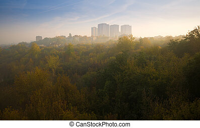Buildings on the Hill in Dense Fog, Sunrise