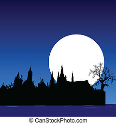 buildings on the water on a moonlight vector illustration