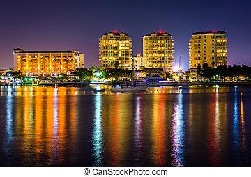 Buildings on the waterfront at night in Saint Petersburg, Florid