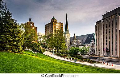 Buildings on Third Street in Harrisburg, Pennsylvania. -...
