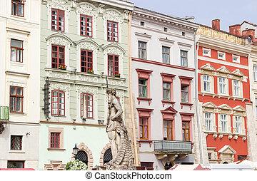 Buildings on west side of Rynok Square in Lviv, Ukraine