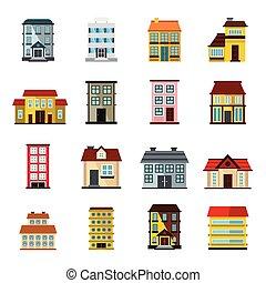 Buildings set in cartoon flat style