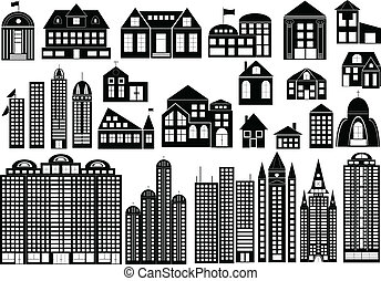 Buildings - Set of black symbols of different buildings