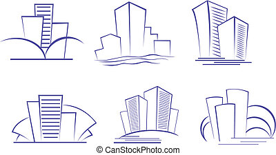 Buildings symbols - Set of modern building symbols for...
