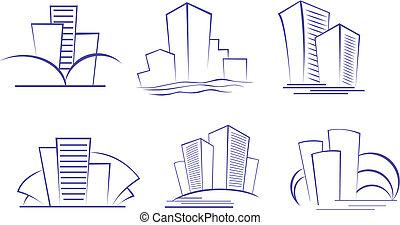 Buildings symbols - Set of modern building symbols for...