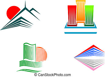 Buildings symbols - Symbols of modern and ancient buildings ...