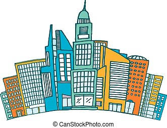 Buildings together in downtown or finnancial district