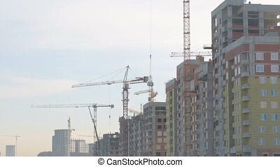 Buildings under construction at building site