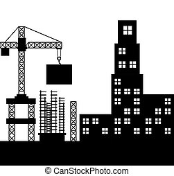 buildings under construction icon