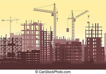 Buildings under construction in process. Urban construction site with cranes and skyscrapers.