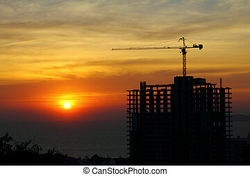 buildings under construction with cranes in nature scene sunset