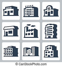 Buildings vector icons set, isometric style #1