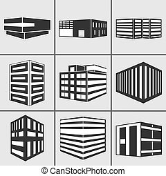 Buildings vector web sticker icons set - Set of dimensional...