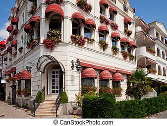 buildings with awnings in Ohrid - white buildings with...