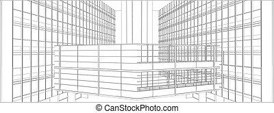 Buildings With Bridge Steel Glass