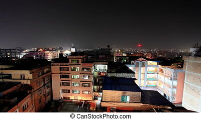 Buildings with flats at night,