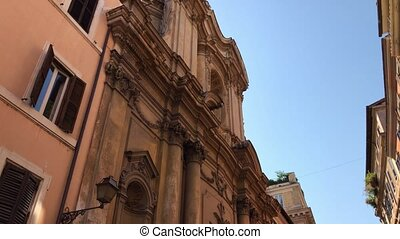 Buildings with old architecture in Rome. Attractive places for history and architecture lovers.