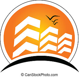 Buildings with sun Real Estate logo - Buildings with sun ...