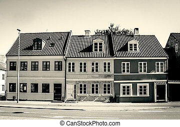 Buildings with windows in sepia color