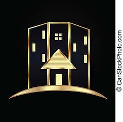 buildings.real, moderno, proprietà, logotipo