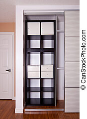 built-in, 壁櫥, 由于, 滑門, 棚架, 儲存, 組織, 解決, 空, 架子