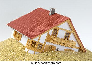 Built on sand - Model house built on sand