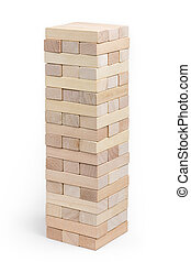 Built to play Jenga tower on a white background