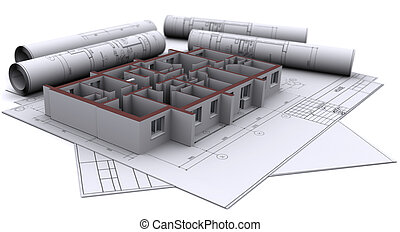 built walls of a house on construction drawings