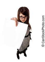 Buisiness woman holding up a blank clipboard