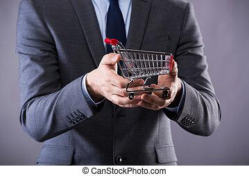buisinessman, majetek, shopping vozík, do, stav připojení...