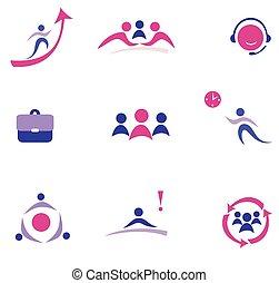 buisness, concept, ensemble, icônes