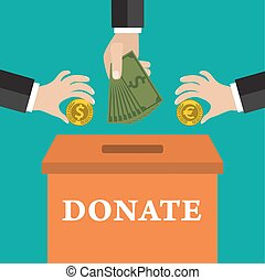 Buisness man hand putting gold coin and money in donation box on green backgound. vector illustration in flat style, infographics web design elements