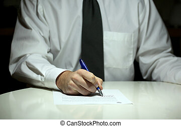 buisness man in white shirt signing contract