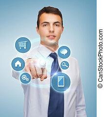 buisnessman, señalar el dedo, a, virtual, pantalla