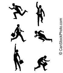 Buisnessmen jumping and running