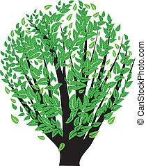 buisson, feuilles vertes