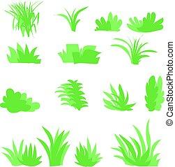 buisson, herbes, fond, isolé, ensemble, vector., plat, blanc
