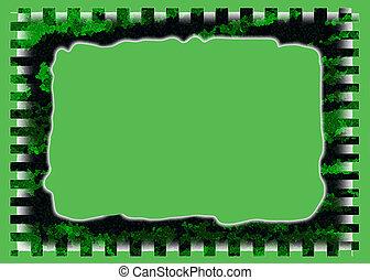 buisson, vert, cadre