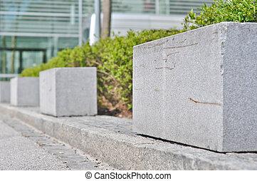 buissons, devant, granit, barrière, rectangulaire