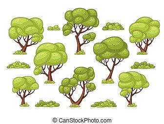 buissons, différent, ensemble, arbres