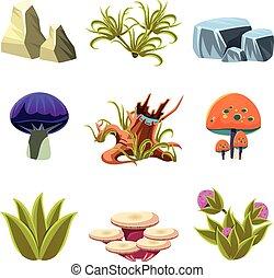 buissons, ensemble, champignons, illustration, vecteur, pierres, dessin animé