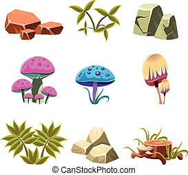 buissons, ensemble, illustration, champignons, vecteur, pierres, dessin animé