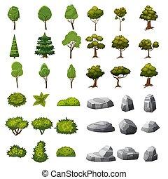 buissons, jardin, ensemble, isolé, arbres, parc, paysage, vecteur, jeux, applications., pierres, graphiques, conception, dessin animé, éléments, style