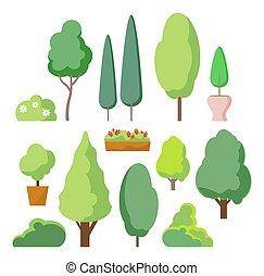 buissons, mignon, vecteur, nature, set., blanc, arbre, isolé, arbres, paysage., usines, buisson, fond, forêt verte, haie, ou, dessin animé