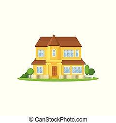buissons, plat, peu, barrière, grand, maison bois, yard., arbres, pré, jaune, two-storey, vecteur, vert, roof., family., devant, maison, icône