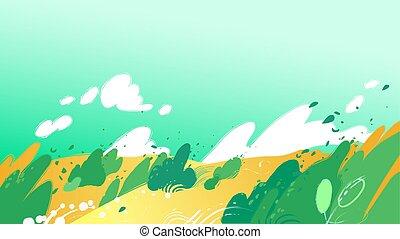 buissons, souffler, champs, feuilles, jaune, fort, vent, dehors