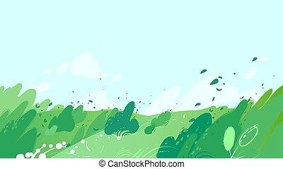 buissons, souffler, champs, feuilles, vert, fort, vent, dehors