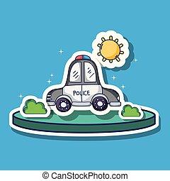 buissons, transport, pièces, voiture, soleil, police